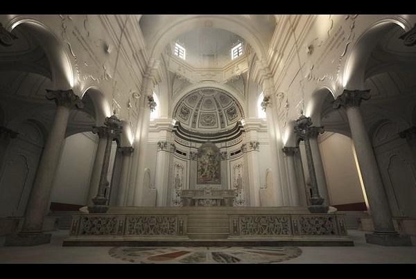 Ricostruzione 3D della Cattedrale di Bari nella veste settecentesca